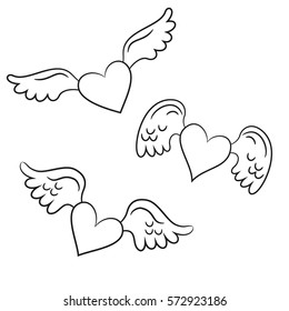 Hearts with wings on the white background for your design. Vector illustration.