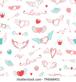 Hearts with Wings Seamless pattern. Love Wedding Vector Background. Beautiful Doodle Heart tattoo. Valentines Day. Hand drawn illustration