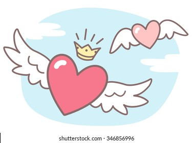 Hearts with wings, sky with clouds. Valentines Day vector illustration. Cute cartoon style picture. Winged hearts, shining crown, blue sky background with clouds.