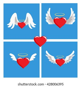 Hearts with wings. Valentines Day vector illustration. Cute cartoon style picture. Winged hearts, shining crown, blue background.