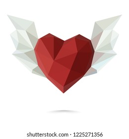 Hearts with wings vector icon, Love symbol. Valentine's Day sign, emblem isolated on white background, Flat style for graphic and web design, logo. EPS10