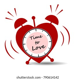 Heart-shaped alarm clock with text. Vector illustration