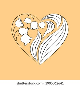 Heart-shaped bouquet of lilies of the valley, black and white flowers on a pale orange background. Suitable for valentine, greeting card, wedding invitation, any other design.