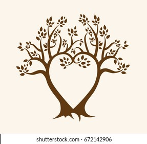 Heart-shaped brown vector tree design