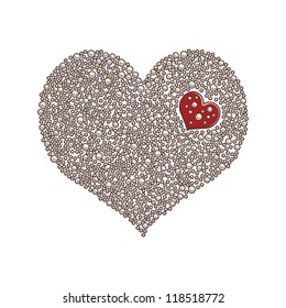 Heart-shaped design element made of red pearls or beads  / Love concept