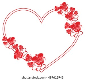 Heart-shaped frame with decorative flowers. Design element for advertisements, flyer, web, wedding, invitations and greeting cards. Vector clip art.