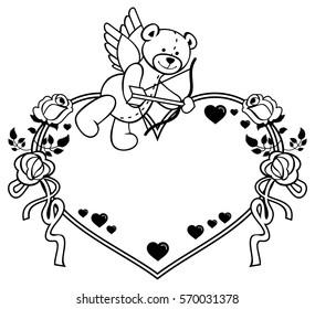 Heartshaped Frame Outline Roses Teddy Bear Stock Illustration