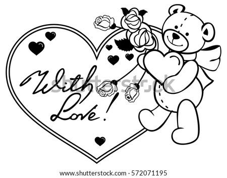Heartshaped Frame Outline Roses Teddy Bear Stock Vector Royalty