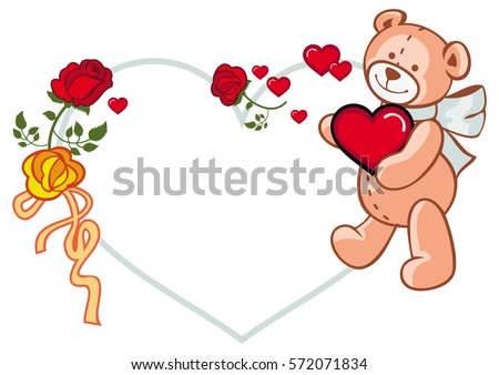 Heartshaped Frame Roses Teddy Bear Holding Stock Vector Royalty