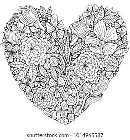 Heart-shaped pattern for adult coloring book. Floral, retro, doodle, vector, design element. Black and white background. zentangle