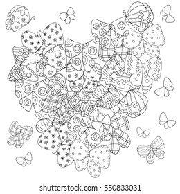 Heart Shaped Pattern For Adult Coloring Book Butterfly Floral Retro Doodle