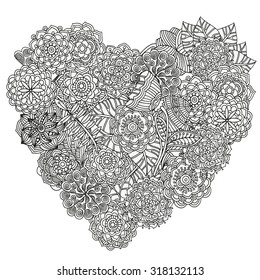 heart-shaped pattern for coloring book. Floral, retro, doodle, vector, design element. Black and white background. zentangle