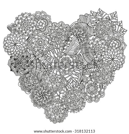 Heart Shaped Pattern For Coloring Book Floral Retro Doodle Vector