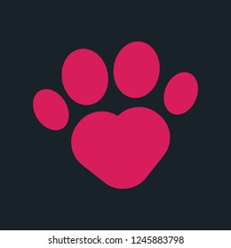 Heart-shaped paw print vector icon