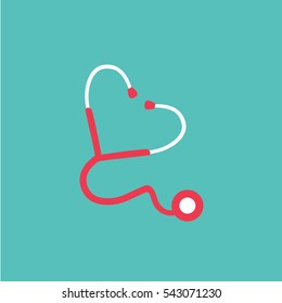 Heart-shaped stethoscope illustration isolated in a Turquoise background