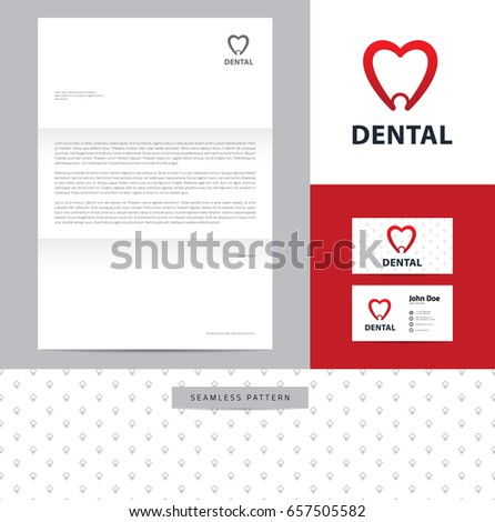 Heartshaped Tooth Identity Design Consisting Logo Stock Vector