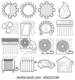 heat cool air flow tools icons set  outline illustration of 16 heat cool air  flow