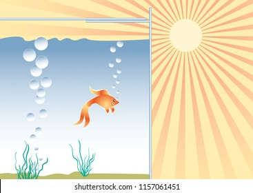 Heat and coolness concept. Goldfish in the aquarium in good conditions. Vector illustration EPS-8.