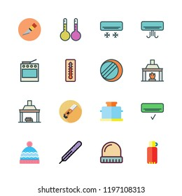 heat icon set. vector set about thermometers, thermometer, thermos and air conditioner icons set.