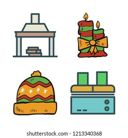 heat icon set. vector set about fireplace, factory, candle and winter hat icons set.