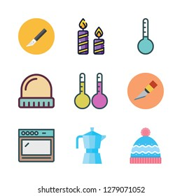 heat icon set. vector set about cutter, winter hat, oven and thermometers icons set.