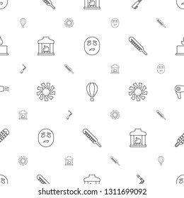 heat icons pattern seamless white background. Included editable line sweating emot, air balloon, blowtorch, fireplace, sun, thermometer, hair dryer icons. heat icons for web and mobile.