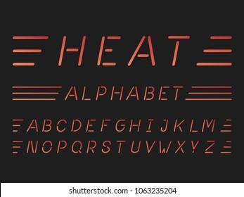 Heat italic font. Vector alphabet letters. Typeface design.