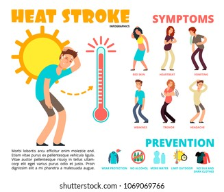Heat stroke and summer sunstroke risk, symptom and prevention vector infographics. Sunstroke and infographic heatstroke, symptom and temperature illustration