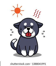 Heat stroke and summer sunstroke risk in very hot day and dog is susceptible to heat stroke. Animal heatstroke concept. Vector illustration.