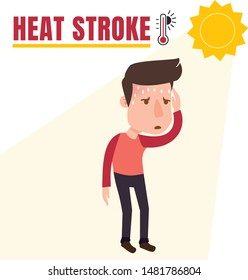 Heat stroke symptom and first aid infographics, Risk of dehydration in hot summer sun. health and body care. cartoon style vector eps10 illustration