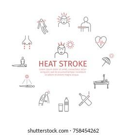 Heat stroke vector icons.
