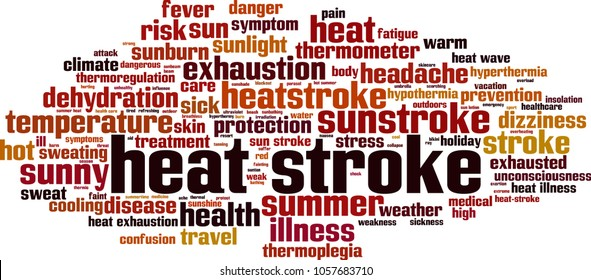 Heat stroke word cloud concept. Vector illustration