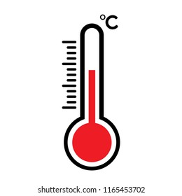 heat temperature thermometer with red mercury icon, flat design vector with temperature half scale for measurement forecast weather or medicine - isolated symbol hot temperature