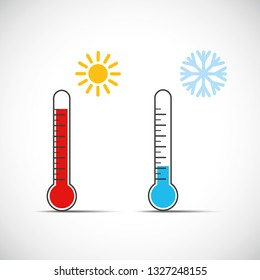heat thermometer icon symbol hot cold weather vector illustration EPS10