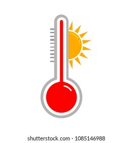 heat thermometer icon - vector measurement symbol hot, cold, weather illustration