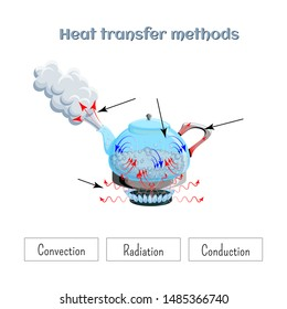Heat transfer methods on example of water boiling in a kettler on gas stove top. Worksheet. Convection, conduction, radiation. Physics, science for kids. Cartoon style vector illustration.