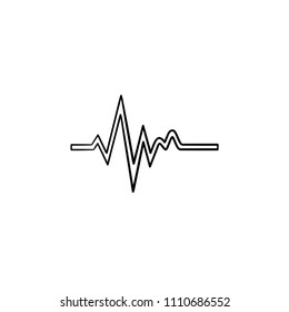 Heatbeat trace on cardiogram hand drawn outline doodle icon. Sinus rhythm on electrocardiography concept vector sketch illustration for print, web, mobile and infographics isolated on white background