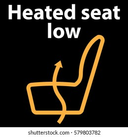 Heated seat low, button, icon, dashboard icon, vector illustration in orange colour , instrument cluster - dtc code error - obd