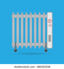 The heater on a blue background.