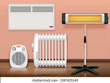 Heaters interior realistic composition with set of different heaters in domestic environment with floor and walls vector illustration