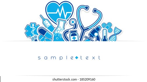 heath care and medical design elements with copy space isolated on white background