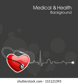 Heath and medical concept with heart and stethoscope on heart beat background.