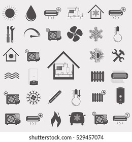 Heating and Air conditioning set vector icon