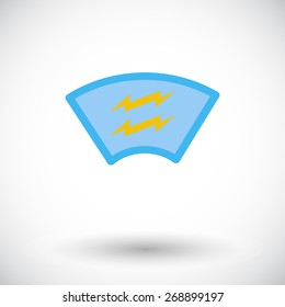 Heating automotive glass. Single flat icon on white background. Vector illustration.
