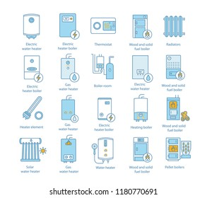 Heating color icons set. Boilers, radiators, thermostat. Gas, electric, solid fuel, pellet, solar boilers. Commercial, industrial and domestic central heating systems. Isolated vector illustrations