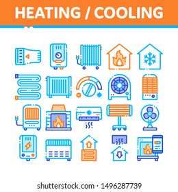 Heating And Cooling Collection Vector Icons Set Thin Line. Cool And Humidity, Airing, Ionisation And Heating Concept Linear Pictograms. Conditioning Related Color Contour Illustrations