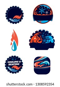 Heating And Cooling Company Icon Collection (Vector Art)