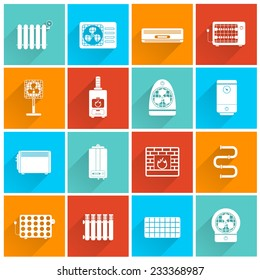 Heating and cooling household air conditioning equipment white icon set isolated vector illustration