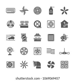 Heating and cooling industrial ventilation systems, aeration and wind symbols. Hot and cold, dry and moisture airflow vector icons. Aeration conditioner, ventilation conditioning, air fan illustration