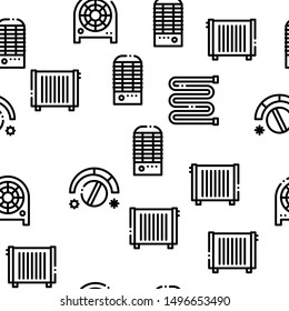 Heating And Cooling Seamless Pattern Vector Linear Pictograms. Black Contour Illustrations